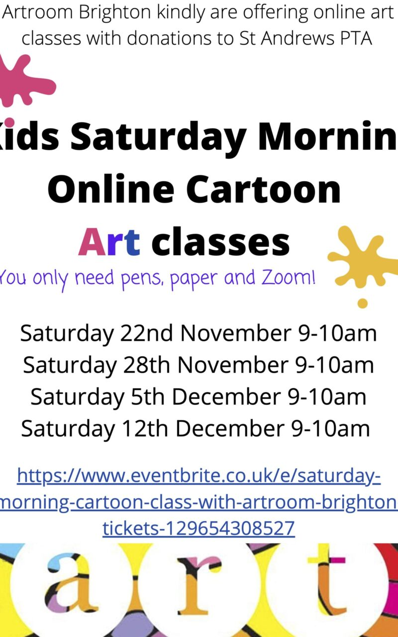 Online Art classes for Kids Via Zoom – Donations to the PTA