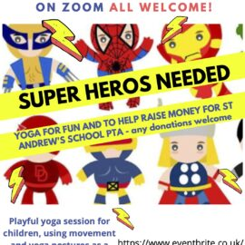 Super Hero Yoga with donations to the PTA